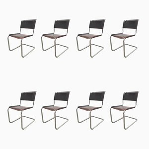 Brown Leather Model S33 Dining Chairs by Mart Stam for Thonet, 1970s, Set of 8