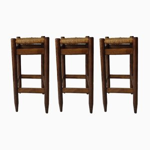 Vintage Wooden Stools, Set of 3