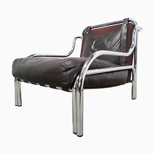 Brown Leather and Chrome Lounge Chair by Gae Aulenti for Poltronova, 1970s