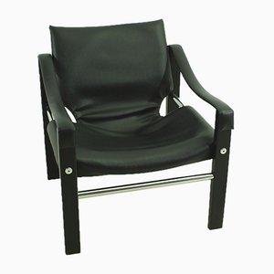 Vintage Safari Sessel aus verchromtem Metall & schwarzem Leder von Maurice Burke für Arkana