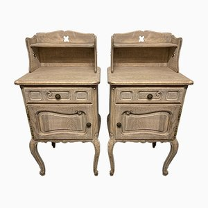 Antique French Bleached Oak Nightstands, Set of 2