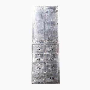 Mueble del Ministerio de Defensa británico industrial de aluminio con cajones múltiples, años 50
