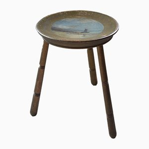 Vintage Painted Wooden Stool, 1950s