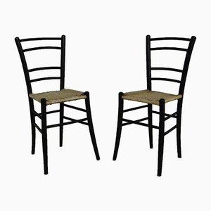 Black Side Chairs from Cassina, 1950s, Set of 2