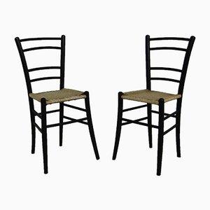 Schwarze Beistellstühle von Cassina, 1950er, 2er Set