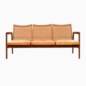 Niederländisches Sofa aus Afromosia & Rohrgeflecht von P. J. Muntendam für Gebroeders Jonkers Noordwolde, 1950er