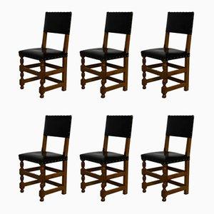Französische Esszimmerstühle aus Leder & Eiche, 1940er, 6er Set
