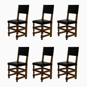 French Leather and Oak Dining Chairs, 1940s, Set of 6