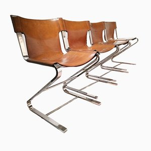 Vintage Chrome and Leather Sling Chairs, Set of 4
