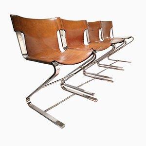 Vintage Sling Chairs aus Chrom & Leder, 4er Set