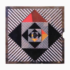 Op Art Centered Square Print by Christoph Berg for BASF, 1960s