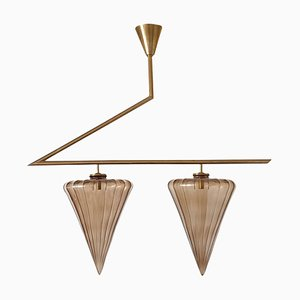 Geometrical Taupe Murano Glass Chandelier from Seguso, 1970s