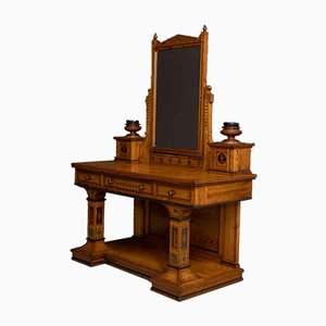 Antique Neoclassical Pitch Pine Dressing Table