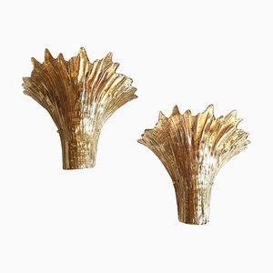 Apliques italianos de cristal de Murano de Ercole Barovier para Barovier & Toso, años 70. Juego de 2