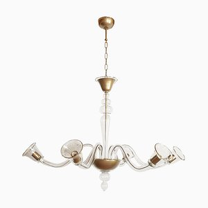 Large Italian Clear and Gold Murano Glass Chandelier by Cenedese, 1970s