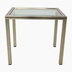 French Brass and Glass Side Table by Pierre Vandel, 1970s