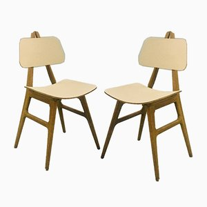 Oak Folding Chairs, 1950s, Set of 2