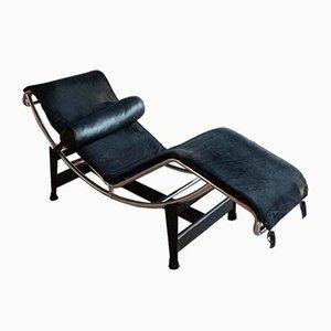 Schwarze Vintage Modell LC4 Chaiselongue von Le Corbusier für Cassina