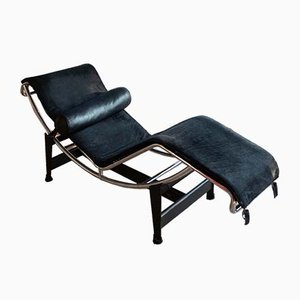Vintage Black Model LC4 Chaise Lounge by Le Corbusier for Cassina