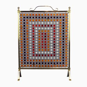 Antique Arts & Crafts Bronze and Glass Fire Screen