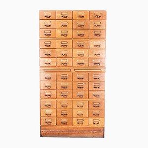 Tall Oak Multi-Drawer Filing Cabinet, 1950s