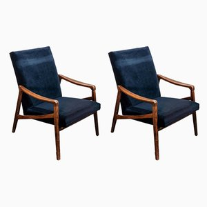 Blue Velvet Armchairs, 1950s, Set of 2