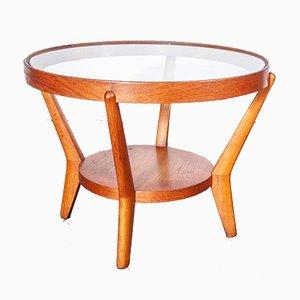 Round Light Oak Side Table by Kropacek & Kozelka for Interieur Praha, 1950s