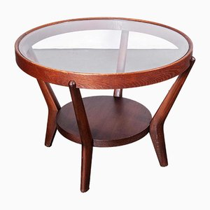 Round Dark Oak Side Table by Kozelka & Kropacek for Interieur Praha, 1950s