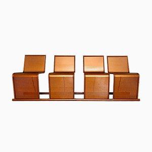Sedie in rame e metallo, anni '70, set di 4