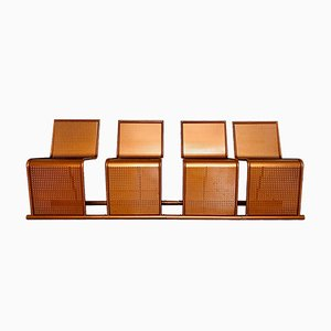 Stuhlbank aus kupferfarbenem Metall, 1970er, 4er Set