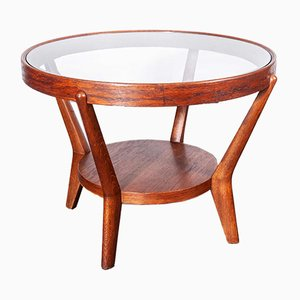 Round Oak Side Table by Kozelka, Kropacek for Interieur Praha, 1950s