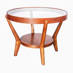 Round Oak Side Table by Kozelka & Kropacek for Interieur Praha, 1950s