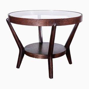 Round Dark Oak Side Table by Kozelka & Kropacek for Interieur Praha, 1950s