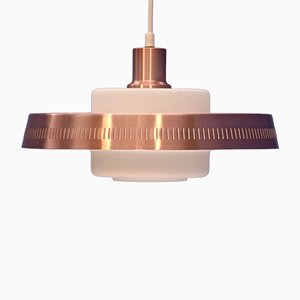 Danish Pink Copper and Opaline Glass Ceiling Lamp, 1960s
