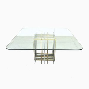 Mid-Century Brass and Glass Dining Table by Pierre Cardin, 1970s