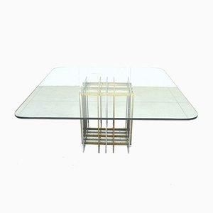 Tavolo da pranzo Mid-Century in ottone e vetro di Pierre Cardin, anni '70