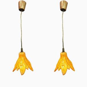 Lámparas colgantes florales de cerámica naranja, años 70. Juego de 2