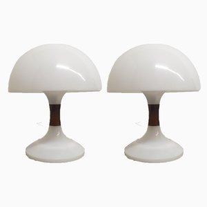 Lampes de Bureau Mushroom Mid-Century en Palissandre par Bent Karlby pour ASK Belysninger, Set de 2