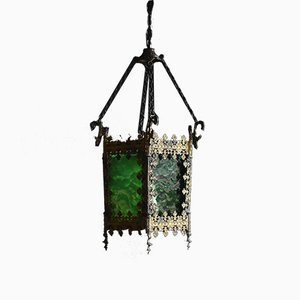 Antique French Gilt and Green Glass Hallway Lantern