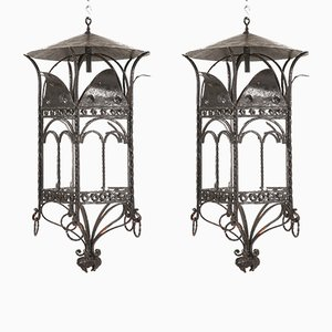 Large Vintage French Wrought Iron Lanterns, Set of 2