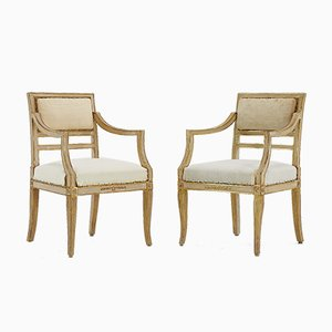 Small Antique Italian Gilt Side Chairs, Set of 2