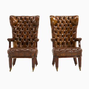Large 19th Century Mahogany and Leather Armchairs, Set of 2