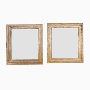 Französische Spiegel mit Silberrahmen, 19. Jh., 2er Set