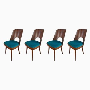 Mid-Century Walnut Model 515 Dining Chairs by Oswald Haerdtl for Ton, 1950s, Set of 4