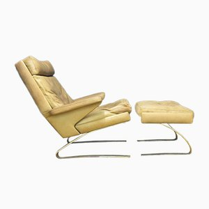 Mid-Century Lounge Chair and Ottoman Set by Reinhold Adolf & Hans-Juergen Schräpfer for Cor, Set of 2