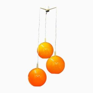 Lámpara de techo en cascada de vidrio naranja, años 70