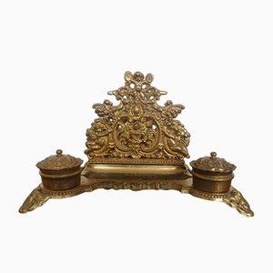 Portalettere da scrivania antico in bronzo