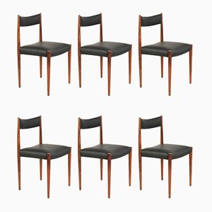 German Skai and Rosewood Dining Chairs from Lübke, 1960s, Set of 6