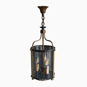 Vintage French Convex Glass Parcel-Gilt Hallway Lantern