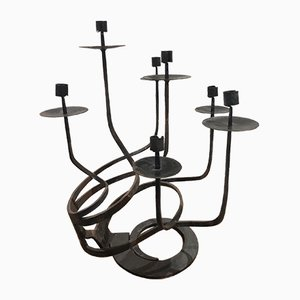 Brutalist Wrought Iron Candleholder, 1970s